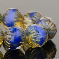 Center Faceted Round (11x10mm) Royal Blue Silk and Crystal Mix with Picasso Finish