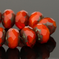 Rondelle (9x6mm) Orange Opaline with Picasso Finish