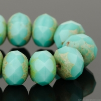 Rondelle (9x6mm) Turquoise Opaque with Picasso Finish (2)