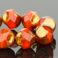 Central Cut (9mm) Orange Opaline with Bronze Finish
