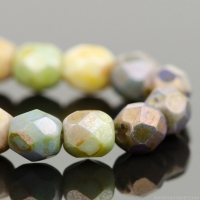 Round Faceted (4mm) Natural Rainbow Opaque Mix with Stone Finish