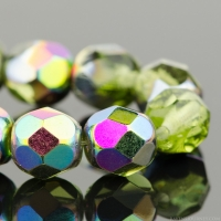 Round Faceted (6mm) Olivine Green Transparent with Vitrail Finish