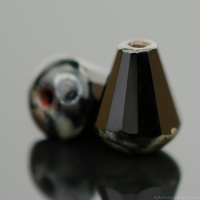 Faceted Drop - Top Cut (8x6mm) Jet Opaque with Picasso Finish
