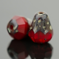 Faceted Drop - Bottom Cut (8x6mm) Red Opaline with Picasso Finish
