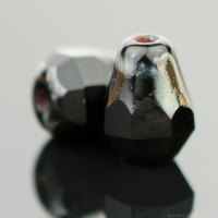 Faceted Drop - Bottom Cut (8x6mm) Jet Opaque with Picasso Finish