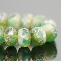 Rondelle (9x6mm) Peruvian Opal Transparent/Opaque Mix with Antique Matte Silver Finish