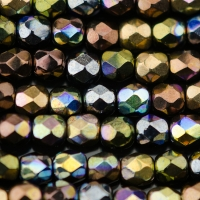 Round Faceted (4mm) Metallic Rainbow Finish Mix