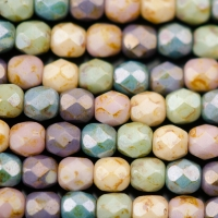 Round Faceted (4mm) Natural Stone Rainbow (Light) Mix