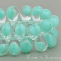Pressed Drop (9x6mm) Mint Green Crystal Mix Opaque Transparent