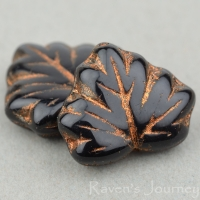 Maple Leaf (13x11mm) Jet Opaque with Bronze Wash