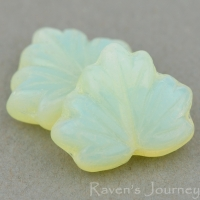 Maple Leaf (13x11mm) Yellow Uranium Opaline