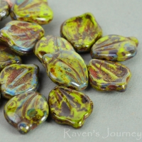 Wide Leaf (15x12mm) Gaspeite Opaque with Fullcoat Picasso