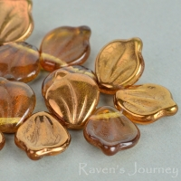 Wide Leaf (15x12mm) Amber Transparent with Bronze