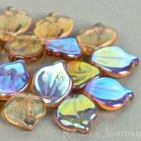 Wide Leaf (15x12mm) Topaz Transparent with AB