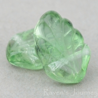 Fan Leaf (12x8mm) Tourmaline Green Transparent