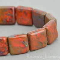 Pressed Square (10mm) Coral Red Opaque with Picasso Fullcoat