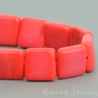 Pressed Square (9mm) Coral Red Opaque