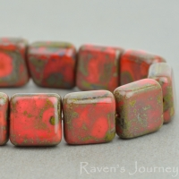 Pressed Square (9mm) Coral Red Opaque with Picasso Fullcoat