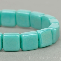 Pressed Square (7mm) Turquoise Opaqe with Luster