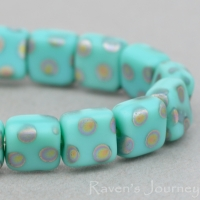 Pressed Square (6mm) Turquoise Opaque Matte with Vitrail Dots