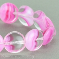 Lentil (10mm) Pink White Crystal Mix Opaque Transparent