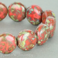 Lentil (10mm) Coral Red Opaque with Picasso Fullcoat