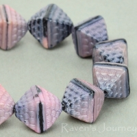 Double Pyramid (12x10mm) Pink Jet Mix Silk/Opaque