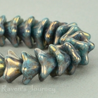 5 Point Bellflower (6x9mm) Turquoise Opaque with Gold Luster
