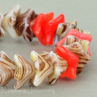 5 Point Bellflower (6x9mm) Mixed Beads Orange Brown Opaque