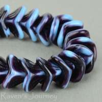 Large Bellflower (12x9mm) Turquoise Dark Purple Mix Opaque