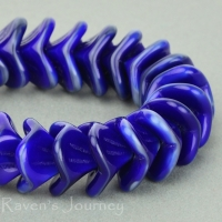 Large Bellflower (12x9mm) Cobalt Grey Mix Opaque