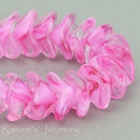 Large Bellflower (12x9mm) Pink White Crystal Mix Transparent Opaque