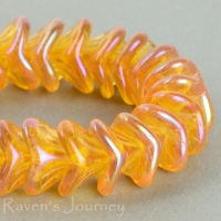 Large Bellflower (12x9mm) Amber Transparent with Rainbow Luster