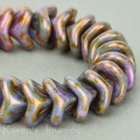 Large Bellflower (12x9mm) Purple with Greenstone Finish