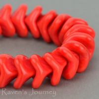 Large Bellflower (12x9mm) Red Coral Opaque