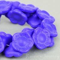 Button Flower (12x6mm) Blue Opaque Matte