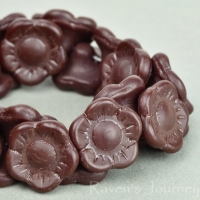 Button Flower (12x6mm) Maroon Opaque Matte
