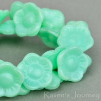 Button Flower (12x6mm) Mint Green Silk