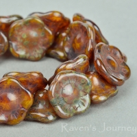 Button Flower (12x6mm) Orange Opaline with Picasso