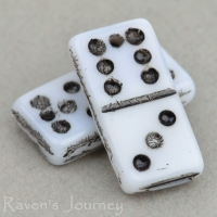 Domino (14x7mm) White Opaque with Black Wash