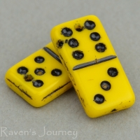 Domino (14x7mm) Yellow Opaque with Black Wash