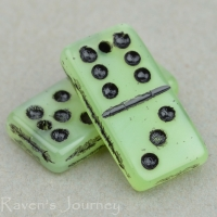 Domino (14x7mm) Green Opaline with Black Wash