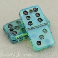 Domino (14x7mm) Aqua Blue Opaline with Black Wash