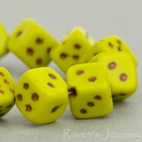 Dice (8mm) Gaspeite Opaque with Bronze Wash