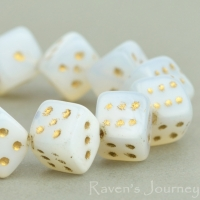Dice (8mm) White Opaline with Gold Wash