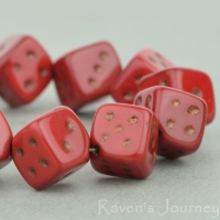 Dice (8mm) Red Opaque with Bronze Wash