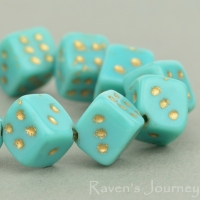 Dice (8mm) Turquoise Opaque with Gold Wash