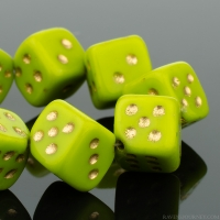 Dice (8mm) gaspeite Opaque with Gold Wash