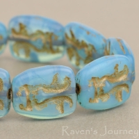 Easter Island Face (13x11mm) Aqua Blue Opaline with Bronze Wash