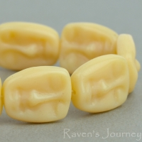 Easter Island Face (13x11mm) Ivory Opaline
